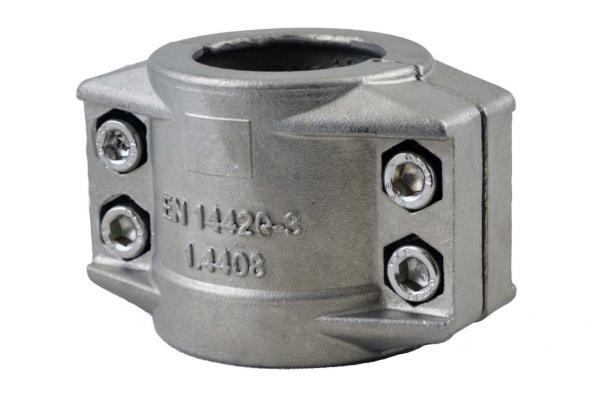 Klemmschalen 2-teilig aus Edelstahl nach EN 14420-3