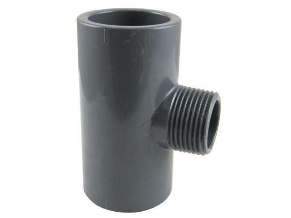 PVC T-Stück 90° mit Klebemuffen und Außengewinde