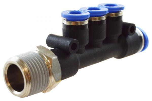 T-Mehrfachverteiler mit Außengewinde und 3 reduzierten Abgängen, Pneumatik IQS, Standard