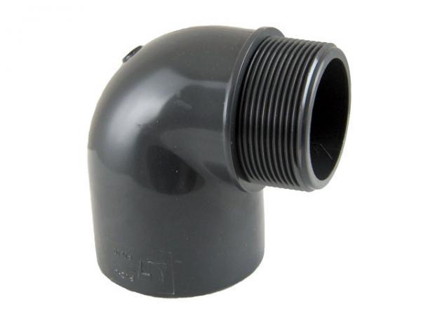 Winkel 90° mit Klebemuffe und Außengewinde, PVC-U