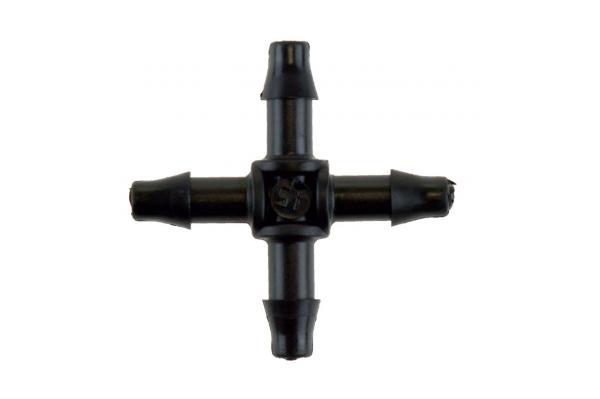 Kreuz-Steckverbinder für Mikroschlauch 4 x 6 mm