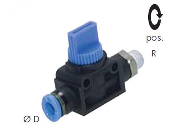 3/2-Wege Absperrventil mit Außengewinde und Steckanschluss, Pneumatik IQS