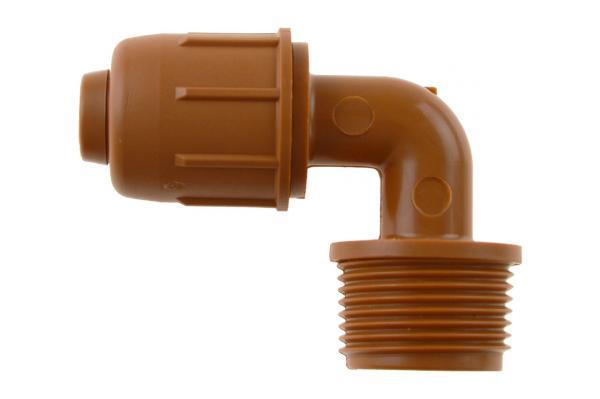 PE-Rohr 90° Winkelverschraubung mit Außengewinde und Schnellverschluss, PN 4, braun