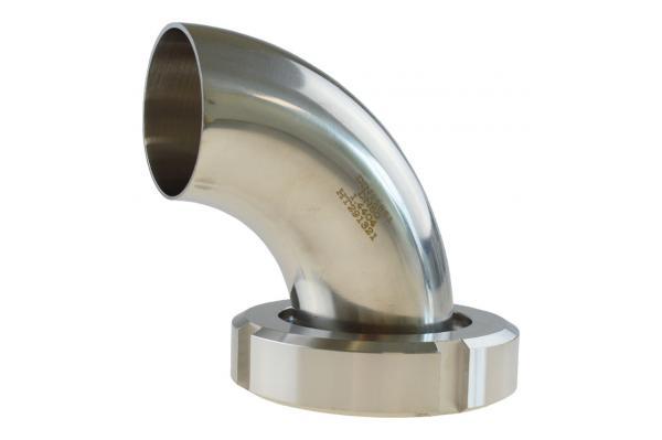 Milchrohrbogen 90° mit Kegelstutzen und Nutmutter auf Anschweißende, Edelstahl, DIN 11851