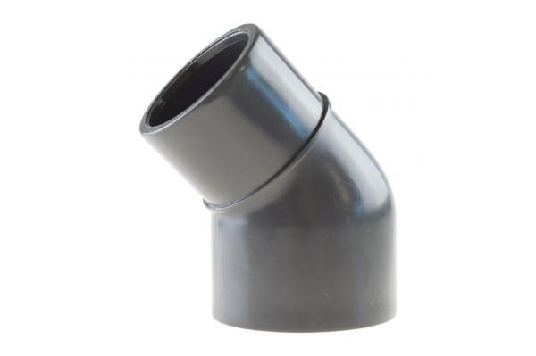 Winkel 45° reduziert mit Klebemuffen, PVC-U