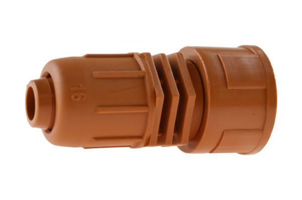 PE-Rohr Anschlussverschraubung mit Innengewinde und Schnellverschluss, PN 4, braun