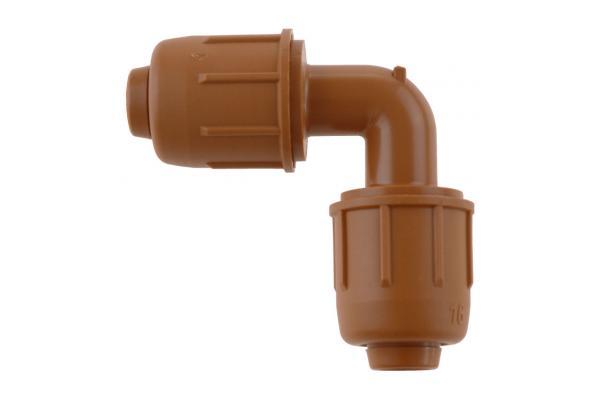 PE-Rohr 90° Winkelverschraubung mit Schnellverschluss, PN 4, braun