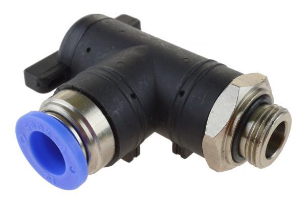 Winkel-Absperrhahn mit zylindrischem Außengewinde und Steckanschluss, Pneumatik IQS, Standard