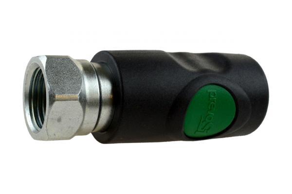Druckluftsicherheitskupplung mit Druckknopf NW 7,2 und Innengewinde