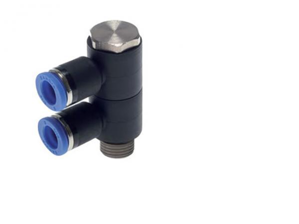 Mehrfachverteiler 2-fach mit zylindrischem Außengewinde, Pneumatik IQS, Standard