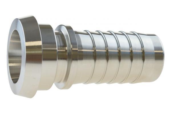 Schlauchkegelrillenstutzen mit Sicherungsbund für Dampfschlauch, Edelstahl, DIN 11851