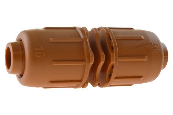PE-Rohr Schraubkupplung mit Schnellverschluss, PN 4, braun
