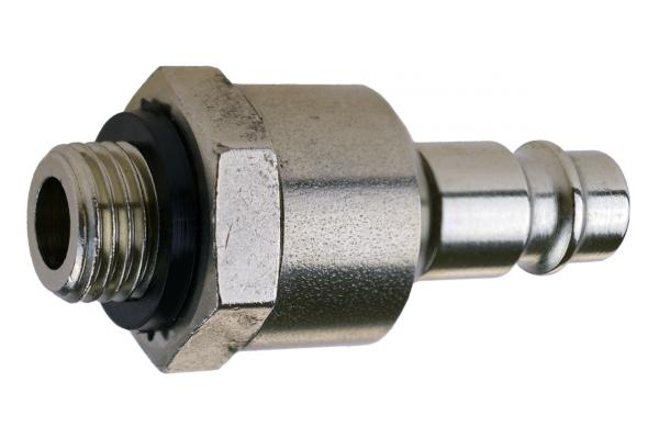 Druckluftstecknippel NW 7,2 mit Drehgelenk und Außengewinde, Stahl vernickelt
