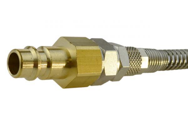 Druckluftstecknippel NW 7,2 mit Überwurfmutter und Knickschutz, drehbar, Messing