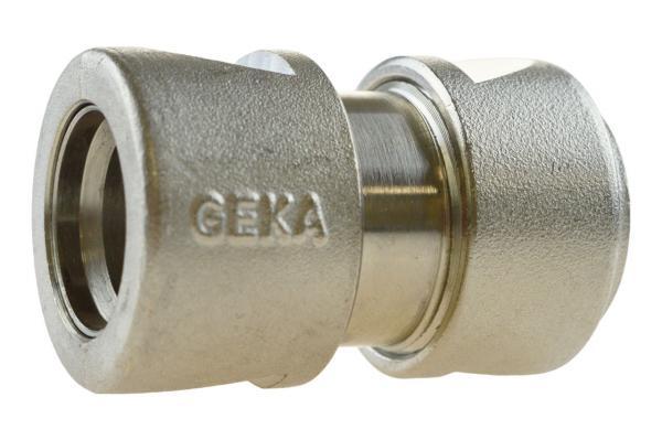 GEKA® plus Schlauchstück mit Wasserstopp, Messing verchromt