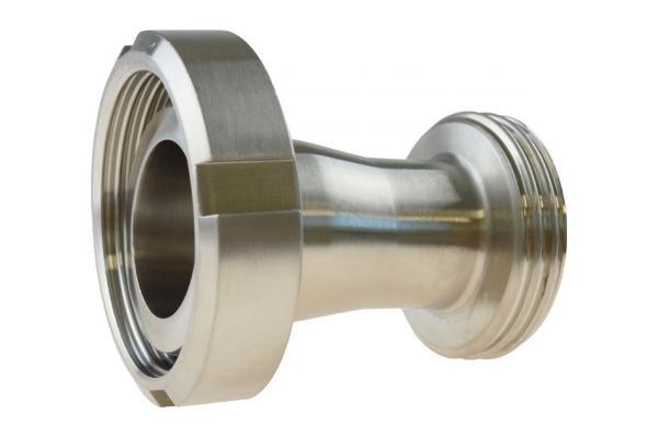 Reduzierung Kegelstutzen mit Nutmutter auf Gewindestutzen, Edelstahl, DIN 11851