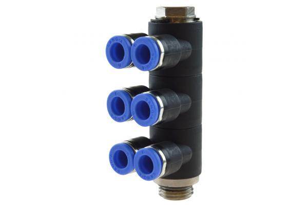 Mehrfachverteiler 6-fach mit zylindrischem Außengewinde, Pneumatik IQS, Standard