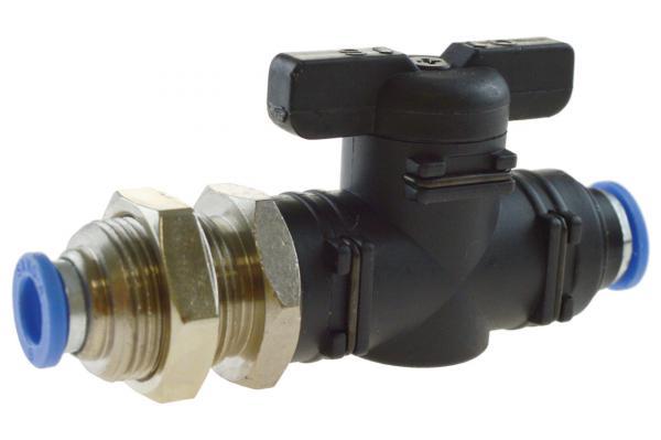 Schott-Absperrhahn mit Steckanschluss, Pneumatik IQS, Standard