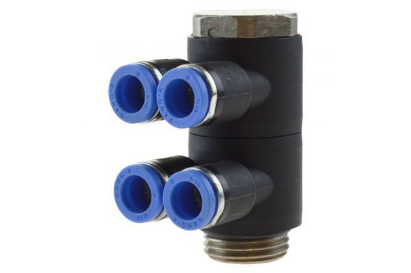 Mehrfachverteiler 4-fach mit zylindrischem Außengewinde, Pneumatik IQS, Standard