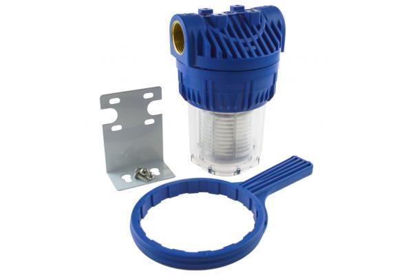 """Leitungsfilter - Wasserfilter 5"""", kurz mit Halter und Montageschlüssel"""