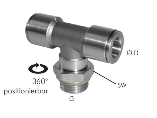 TE-Steckverschraubung mit zylindrischem Außengewinde Edelstahl, Pneumatik IQS