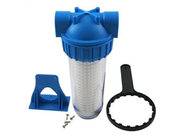 """Leitungsfilter - Wasserfilter 10"""", groß mit Halter und Montageschlüssel"""