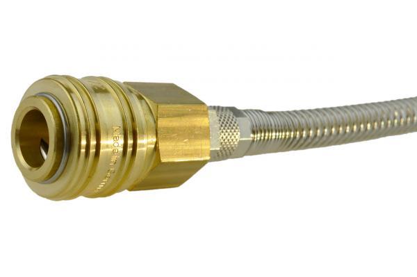 Druckluftkupplung NW 7,2 mit Knickschutz und Überwurf, Messing