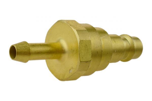 Druckluftstecknippel NW 7,2 mit Schlauchtülle und Rückschlagventil, Messing