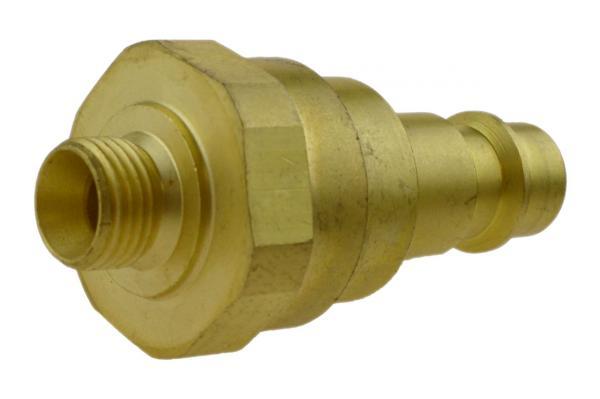 Druckluftstecknippel NW 7,2 mit Außengewinde und Rückschlagventil, Messing