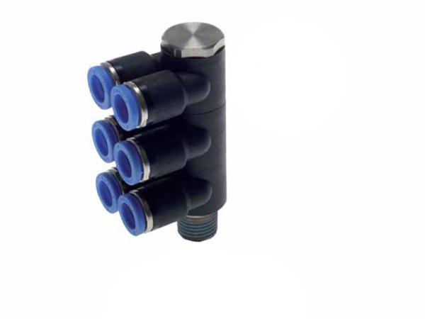 Mehrfachverteiler 6-fach mit Außengewinde, Pneumatik IQS, Standard
