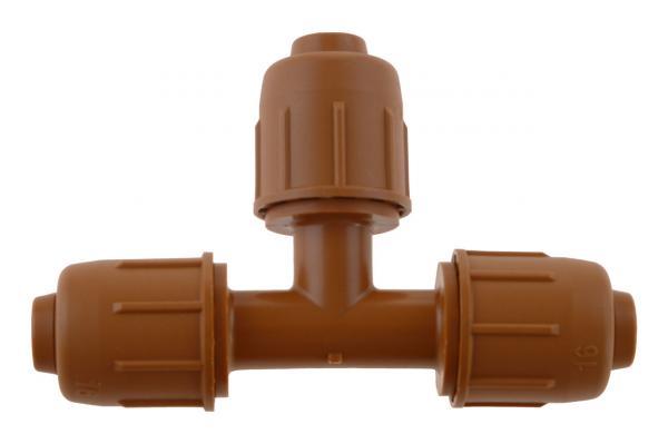 PE-Rohr T-Verschraubung mit Schnellverschluss, PN 4, braun