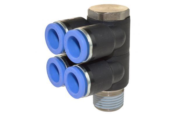 Mehrfachverteiler 4-fach mit Außengewinde, Pneumatik IQS, Standard