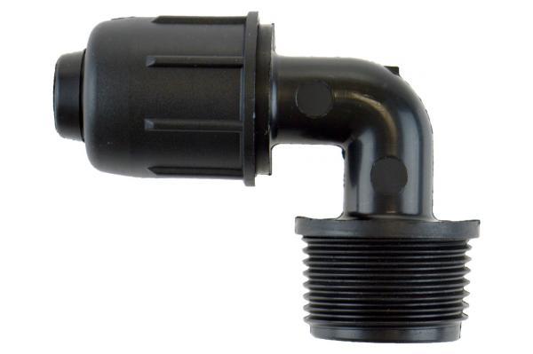 PE-Rohr 90° Winkelverschraubung mit Außengewinde und Schnellverschluss, PN 4