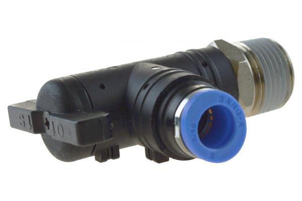 Winkel-Absperrhahn mit Außengewinde und Steckanschluss, Pneumatik IQS, Standard