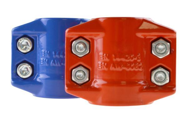 Klemmschalen 2-teilig, farbig, Aluminium, EN 14420-3