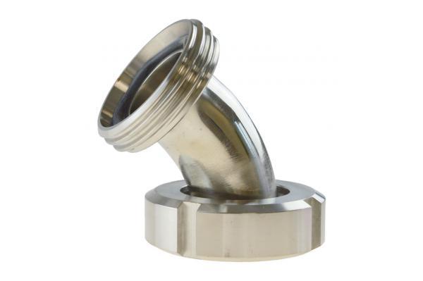 Milchrohrbogen 45° mit Kegelstutzen und Nutmutter auf Gewindestutzen, Edelstahl, DIN 11851
