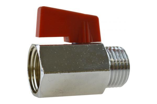 Mini-Kugelhahn mit Innen- und Außengewinde, Messing