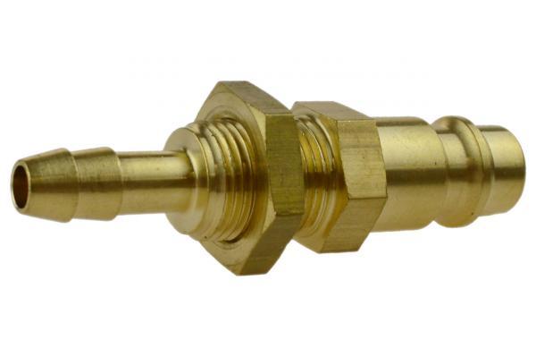 Druckluftstecknippel NW 7,2 mit Schlauchtülle und Schottgewinde, Messing