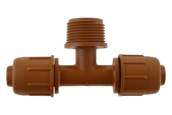 PE-Rohr T-Verschraubung mit Außengewinde und Schnellverschluss, PN 4, braun