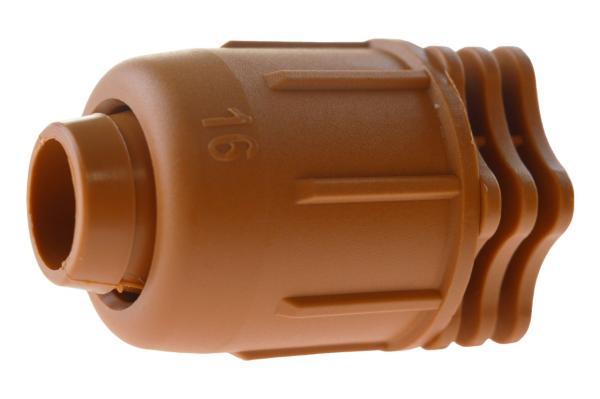PE-Rohr Endstück mit Schnellverschluss, PN 4, braun