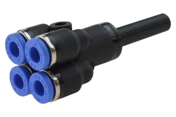 Mehrfachverteiler mit Stecknippel und 4 reduzierten Abgängen, Pneumatik IQS, Standard