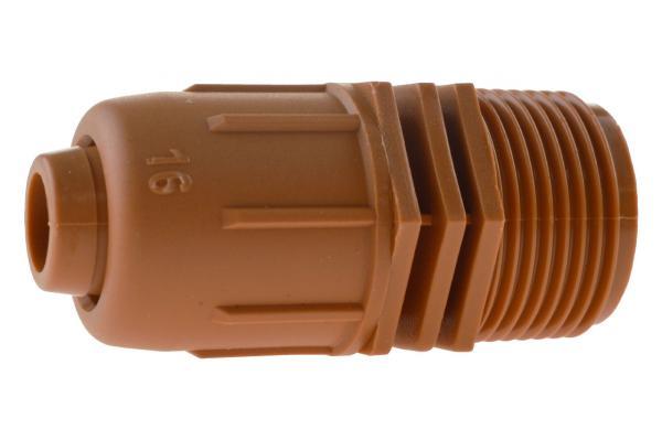 PE-Rohr Anschlussverschraubung mit Außengewinde und Schnellverschluss, PN 4, braun