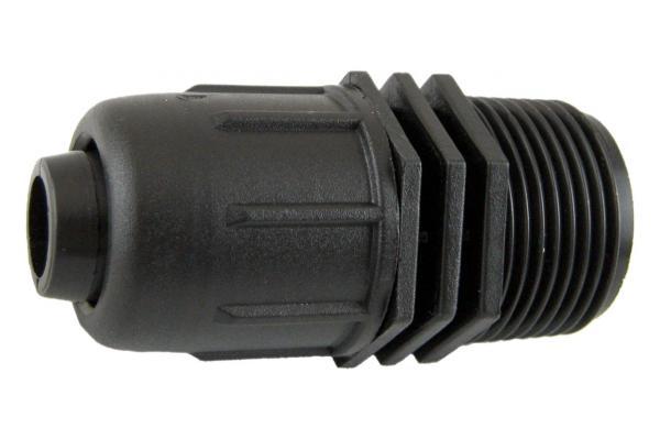 PE-Rohr Anschlussverschraubung mit Außengewinde und Schnellverschluss, PN 4